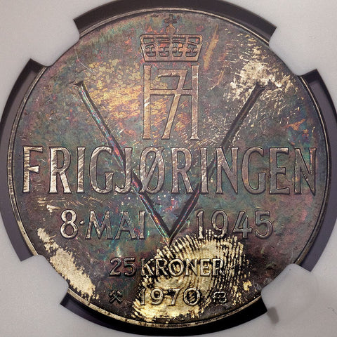 Norway - 1970 Liberation Anniversary Silver 25 Kronor - KM.414 - NGC MS 65 - Colorful!