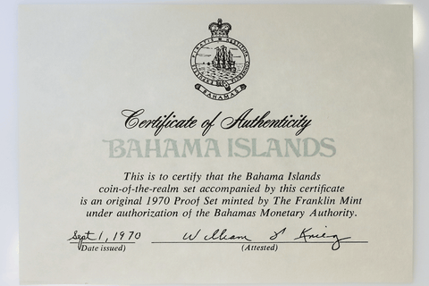 1970 Bahamas 9-Coin Silver Proof Set (2.873 ASW) - Gem Proof in OGP with COA