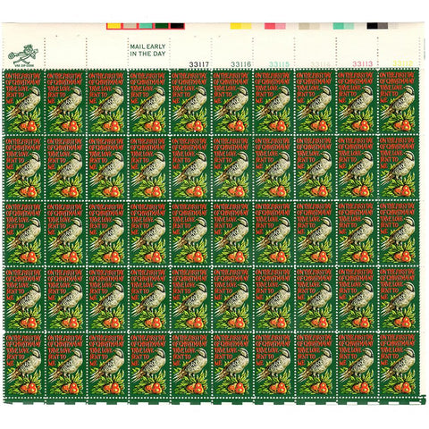 1971 8c Scott #1445 Partridge in a Pear Tree Christmas Sheet (50) MNH