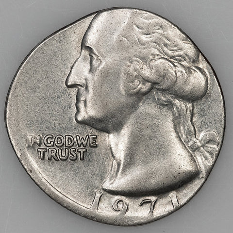 1971 Washington Quarter Struck on Dime Planchet ~ 2.27 g. ~ Choice AU