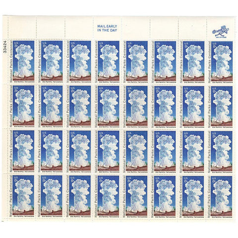 1972 8c Scott #1453 Old Faithful National Parks Centennial Sheet (32) MNH