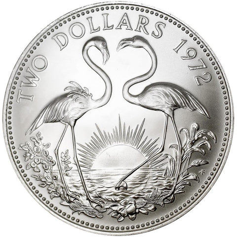 1972 Bahamas Sterling Silver $2 Flamingos KM.23 - Gem Brilliant Uncirculated