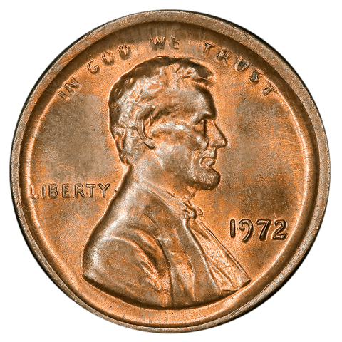 1972 Lincoln Cent - Major Centered Broadstrike - Gem Red & Brown Uncirculated