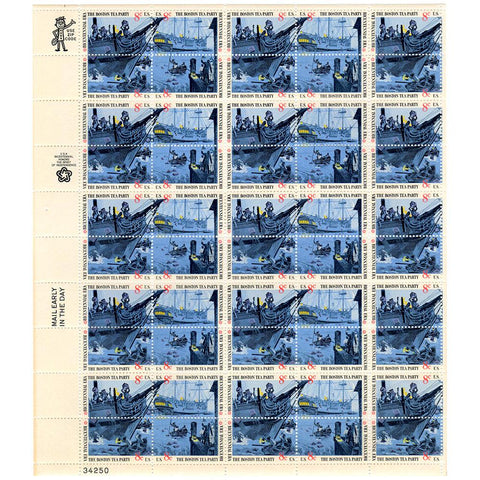 1973 8c Scott #1480-83 Boston Tea Party Sheet (50) MNH