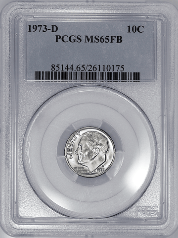 1973-D Roosevelt Dime - NGC MS 65 FB (Full Bands)
