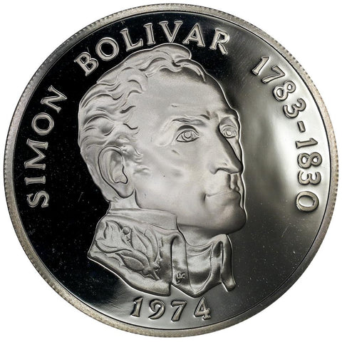 1974 Panama Proof Silver 20 Balboas KM.34 in Original Box - Gem Proof
