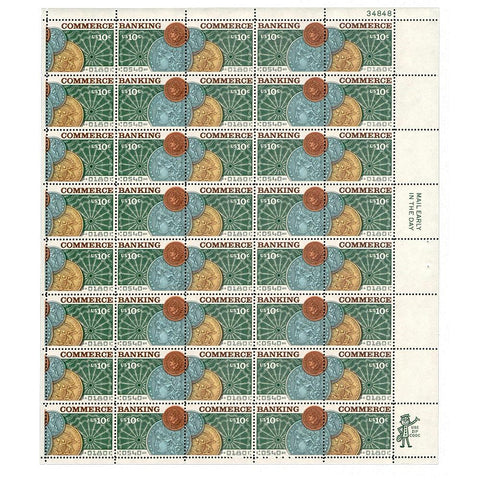 1975 10c Scott #1577-78 Banking and Commerce Sheet (40) - MNH