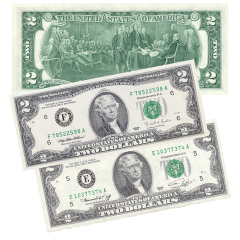 A Trio of Pack Fresh $2 Federal Reserve Notes (1976, 1995, 2003)