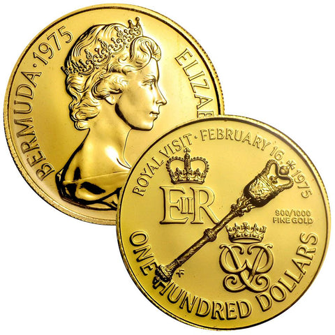 1975 Bermuda $100 Dollar Gold Royal Visit Coin - KM.24 - Gem