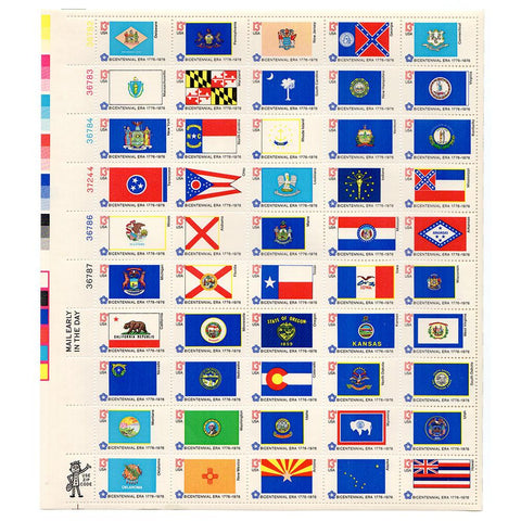 1976 13c Scott #1633-82 State Flags Sheet (50) MNH