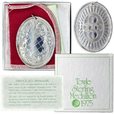 "1975 Towle Silversmiths ""Fifth Day of Christmas"" Sterling Ornament"