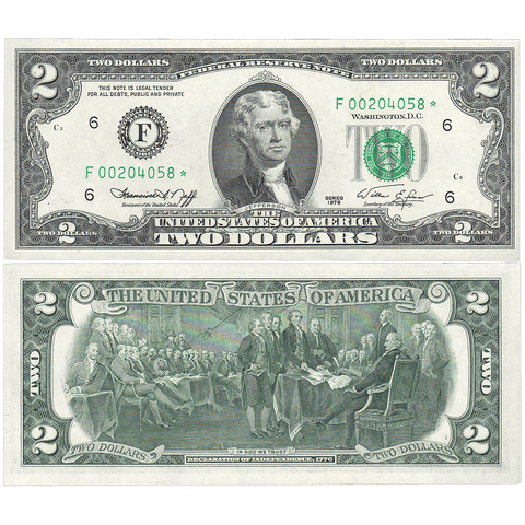 1976 $2 Federal Reserve Star Note (Atlanta District) Fr. 1935-F* - Choice Uncirculated