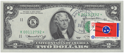 1976 $2 Dallas Federal Reserve Star Note 1st Day Issue w/ Stamp Amarillo, TX Fr. 1935-K*