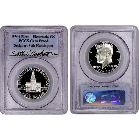 1976-S Bicentennial Silver Kennedy Half - PCGS Gem Proof Signed by Seth Huntington