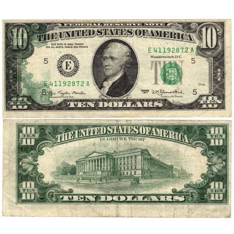 1977 $10 Federal Reserve Note - Partial Back to Front Offset - Very Fine
