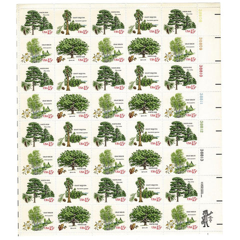 1978 15c Scott #1764-67 American Trees Sheet (40) MNH