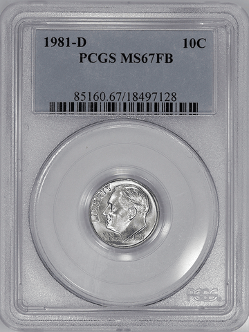 1981-D Roosevelt Dime - PCGS MS 67 FB (Full Bands)