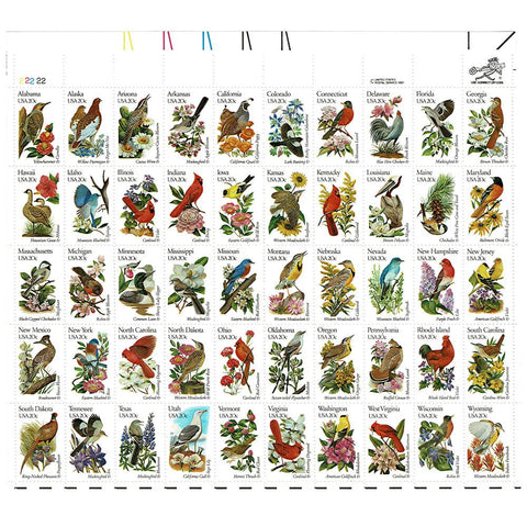 1982 20c Scott #1953-2002 State Birds and Flowers Sheet (50) - MNH