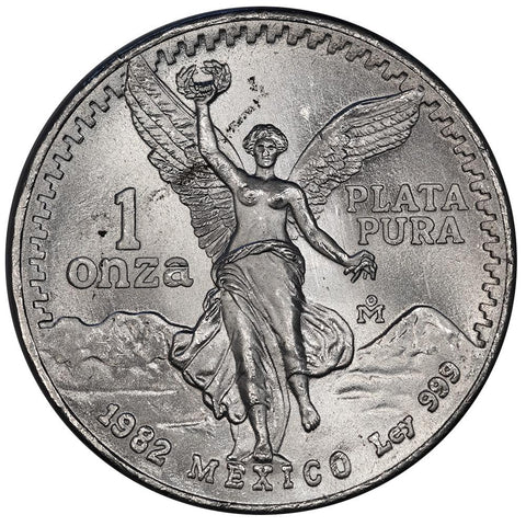 "1982 Mexico 1 Onza ""Libertad"" 1 oz Silver KM.494.1 - Brilliant Uncirculated"
