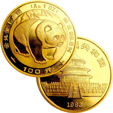 1983 China 50 Yuan 1/2 oz Gold Panda KM.71 - Gem in Mint Plastic (Sealed)