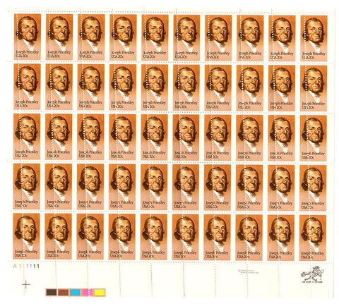 1983 20c Scott #2038 Joseph Priestley Misperf Error Full Sheet (50) - MNH