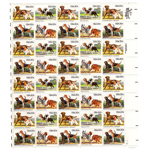 1984 20c Scott #2098-2101 Dogs Sheet (40) - MNH
