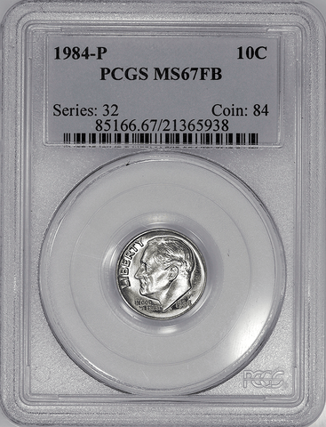 1984-P Roosevelt Dime - PCGS MS 67 FB (Full Bands)