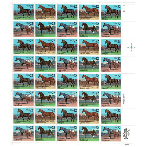 1985 22c Scott #2155-2158 Horses Sheet (40) - MNH