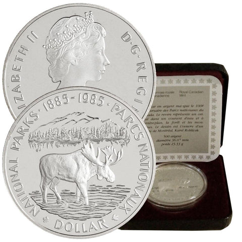 1985 Canada Silver National Parks Dollar KM.143 - Gem Proof in Box w/ CoA