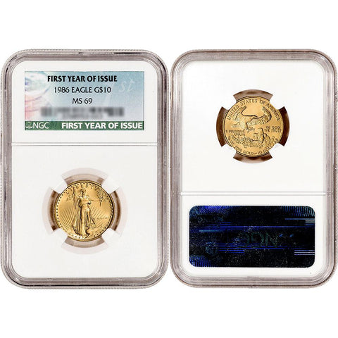1986 $10 American Gold Eagle 1/4 oz Net Pure Gold - NGC MS 69