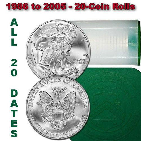 1986-2005 American Silver Eagle Roll - All 20 Dates - All Coins Gem Uncirculated