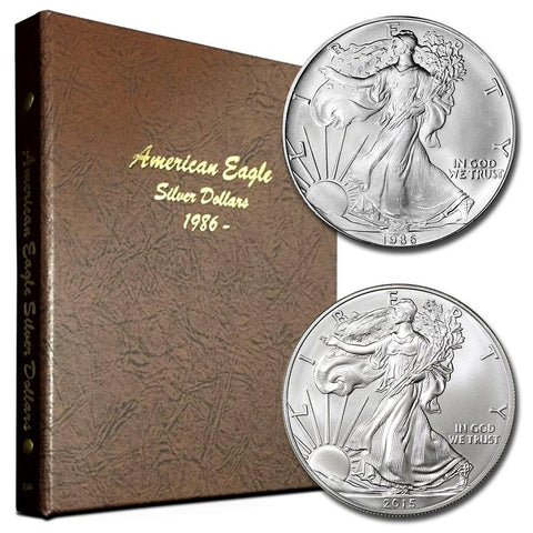 1986 to 2016 American Silver Eagle Sets in Deluxe Bookshelf Dansco Albums
