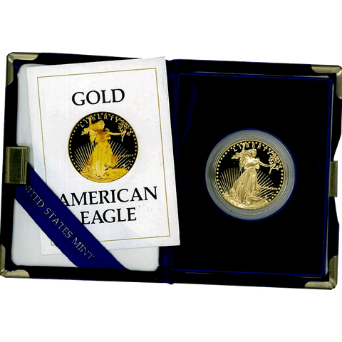 1986-W or 1987-W $50 Proof Gold American Eagle in Box w/COA (1 TOZ Net Pure Gold)