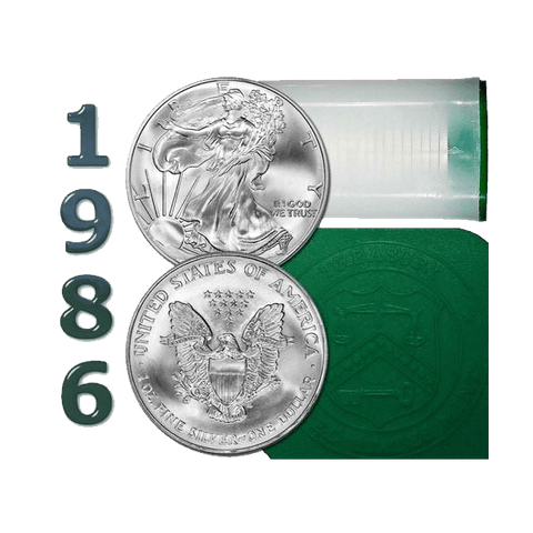 1986 American Silver Eagle Mint Roll of 20 - Green Tubes