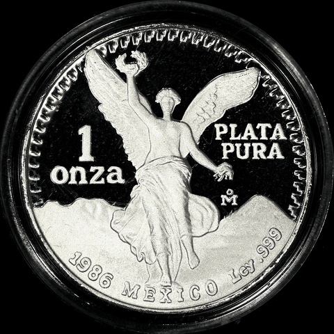 "1986 Mexico Proof 1 Onza ""Libertad"" 1 oz Silver KM.494.1 - Gem Proof in Box/COA"