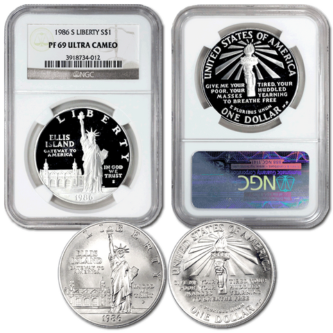 Pair of 1986 Statue of Liberty Commemorative Silver Dollars in NGC MS 69 & PF 69