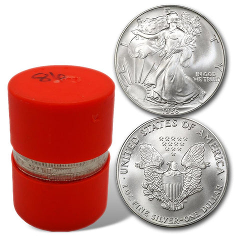 1986 American Silver Eagle Original Mint Roll of 20 - Orange Capped Tubes