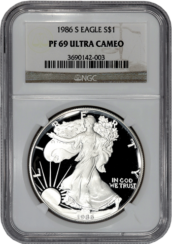 1986 to 2017 Proof American Silver Eagles in NGC PF 69 Ultra Cameo