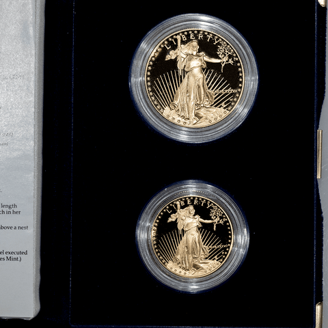 1987 Two Coin Proof Gold Eagle Set 1987-W $50 & 1987-P $25 in Box w/COA (1.5 TOZ)