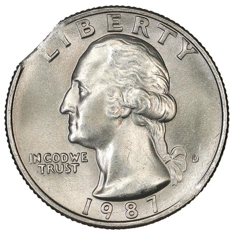 1987-D Washington Quarter - Curved Clip 5% - Uncirculated
