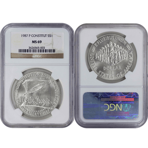 1987-P Constitution Commemorative Silver Dollar - NGC MS 69