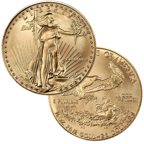 1988 $25 American Gold Eagle 1/2 oz Net Pure Gold - Gem Uncirculated