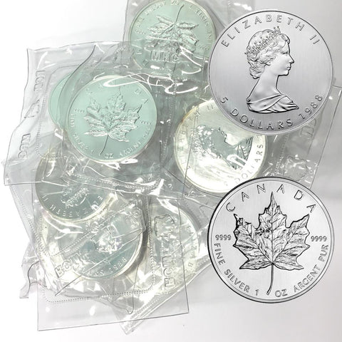 1988 1 oz Canadian Silver Maple Leaf $5 Coins, 1 toz Fine Silver, In Plastic
