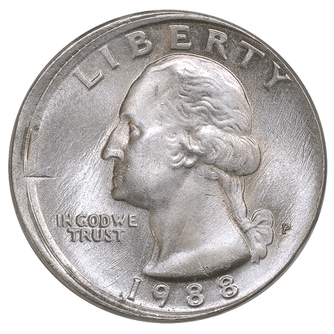 1988 Washington Quarter - Off Center Broadstrike - About Uncirculated