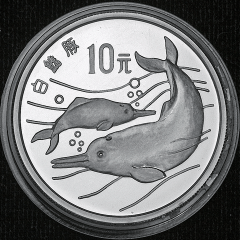 1988 People's Republic of China Silver 10 Yuan Rare Animal Protection (Dolphin) KM.212 - Gem Proof