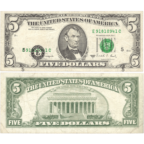 $5 1988-A Richmond Federal Reserve Note - Major Shifted Black Overprint - Very Fine