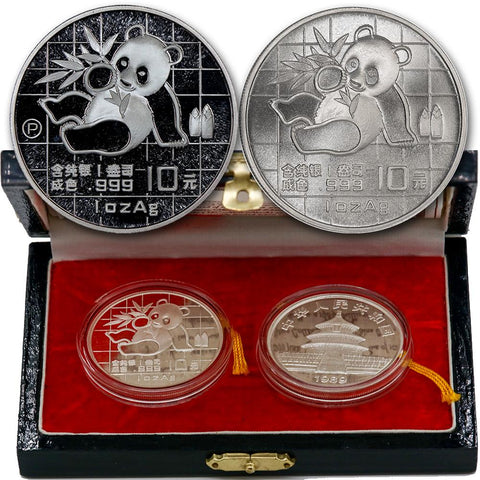 1989 & 1989-P Proof/Unc China 10 Yuan Silver Panda 1 oz .999 - Gem Proof & Unc in Box with COA
