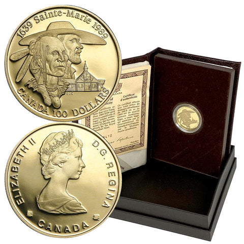 1989 Canada Proof $100 1/4 oz Gold Coin Sainte-Marie - Gem Proof in OGP