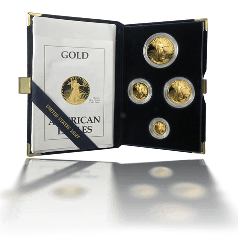 1989 4-Coin Proof Gold American Eagle Set in Box with COA (1.85 AGW)