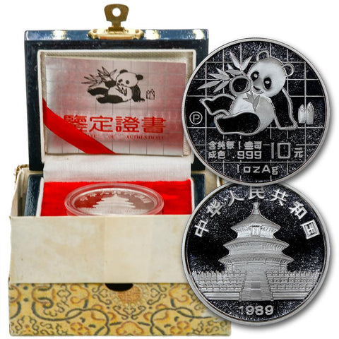 1989-P Proof China 10 Yuan Silver Panda 1 oz .999 Silver KM.A221 - Gem Proof in Box with COA